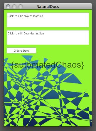 Screen shot of the NaturalDocs command line tool
